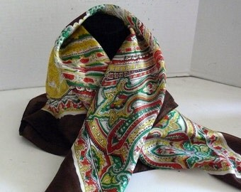 Silk Scarf - Sally Gee - Vintage - 1960s Gold - Brown- Red