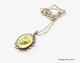 Vintage Needlepoint Yellow Flower Pendant Necklace, Silver Chain