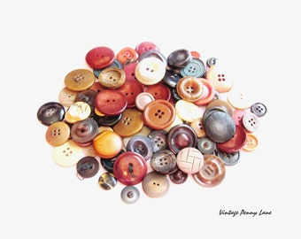 100 Vintage Buttons, Earth Tone - Lot 1