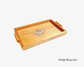 Vintage Handmade Wood / Glass Tray