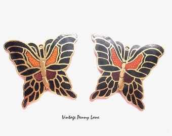 Cloisonne Enamel Charms / Salvaged Butterfly Pendants