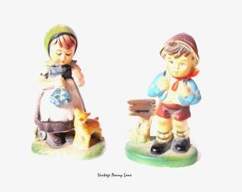 Vintage Children Figurines, Plastic / Hummel Style
