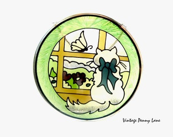 Vintage Stained Glass Cat Window Art