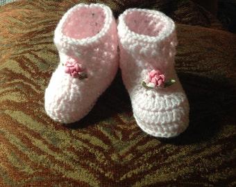 Digital Crochet Pattern Crochet Baby Booties Crochet Booties Pattern Cluster Baby Booties Pink Baby Booties Crochet Baby Boots Pattern