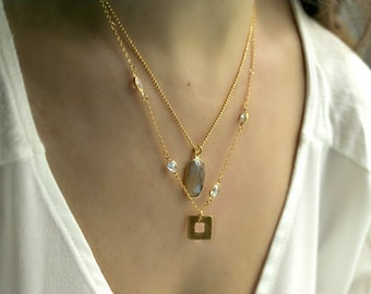 Layered Necklace Gold cz Chain Gemstone Layering Necklace Cushion Pillow Cut Smokey Quartz Necklace Bridesmaid Gift Bridal Necklace