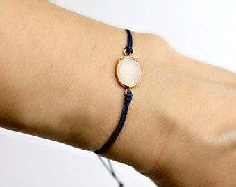 White Druzy Friendship Bracelet Navy Blue Cord Macrame Knot