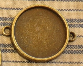 """5 Antique Brass Bronze Blank Bezel Setting 3/4"""" Two Hole Connector Pendant Trays Two Loops Connector for Resin or Cabochons"""