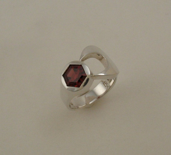 sterling silver wrench ring with garnet by jewelrybyemmy