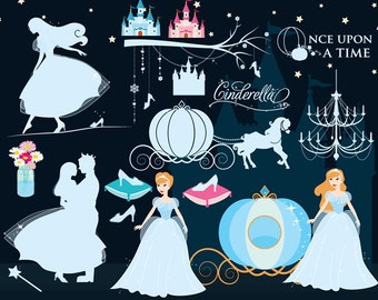 Cinderella clip art - princess clipart glass slipper pumpkin carriage prince shoe fairy tale fairytale personal commercial use Cendrillon