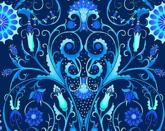 Jason Yenter Flower Vine Blue Paradise Fabric 1 yard