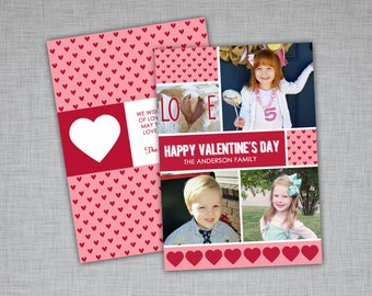 Valentine's Greeting Card - Picture Collage - Print yourself digital file - Pink and Red
