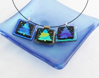 Christmas tree pendant - Dichroic fused glass Christmas Tree jewelry - holiday jewelry (3454-3553-3573)