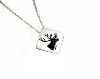 Ceramic Stag Necklace, Ceramic Stag Brooch, Woodland,