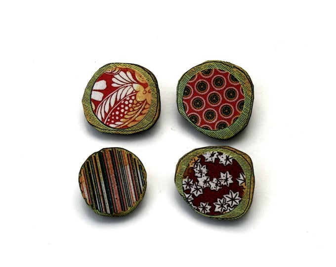 Spring Brooch Set, Wood Accessory, Illustration Jewelry, Set of Four, Wood Jewelry