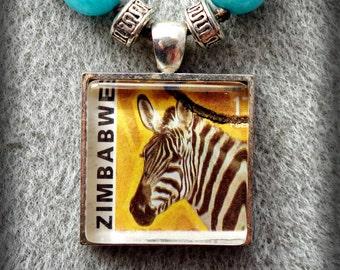 Beaded Zimbabwe Zebra Postage Stamp Pendant Necklace (One of a Kind!)