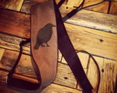 Banjo Strap- Solitary Crow Screen Printed Design-music-gifts for musicians-handmade-canvas-unique gifts-boyfriends-girlfriends