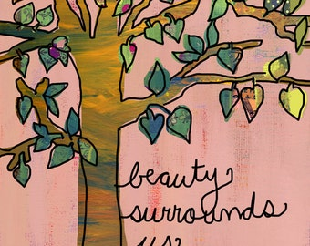 Rumi Quote Art, Inspirational Tree Wall Art
