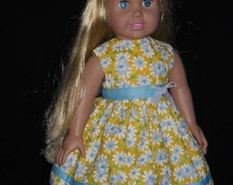"Yellow with Daisy's American Girl 18"" Doll Dress Handmade"