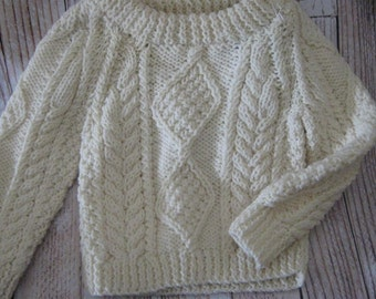 hand knit fisherman pullover toddler size 1T - 2T