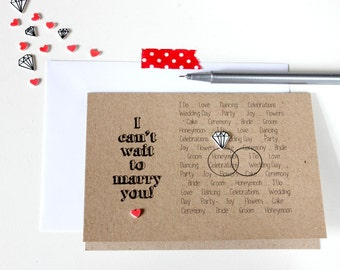 Handmade Wedding Card. Engagement Card. Engagement Cards. Marriage Card. Wedding Day Card. I can't wait to marry you. Wedding Cards. Wedding