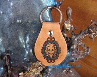 Skull Cameo Leather Keyfob