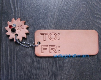 Leather Keepsake Gift Tag with Sun Charm
