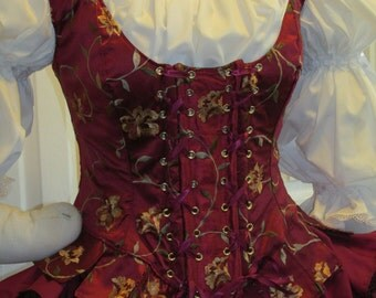 DDNJ Choose Fabrics Fully Reversible Demi Bodice Style Side Lace Tabbed Corset Plus Custom Made ANY Size  Renaissance  Pirate Anime Wedding