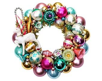 Ornament Wreath, Shiny Brite Wreath, Reindeer Wreath, Christmas Wreath, Aqua Wreath, Flocked Reindeer, Pink Ornament Wreath