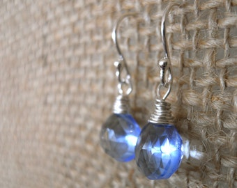 Tanzanite Blue Quartz Teenie Earrings- Sterling, Leverback Earrings, Periwinkle Earrings, Simple Drop Earrings