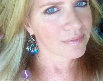 Sapphire Blue Earrings, Sea Breeze Earrings, Blue Topaz. Aquamarine Quartz, Chandelier Earrings, Gemstone Earrings