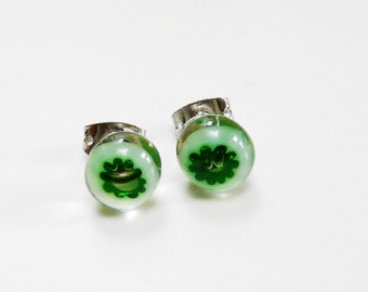 Green White Earrings Post Earstuds Studs Green White Flower Glass Fused Earrings