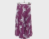 1980s skirt / 80s skirt / extra small s / bird / Purple Swan Print Skirt