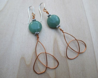 Triquetra Earrings, Triskele Earrings, Trinity Knot Earrings, Moss Agate Earrings,  Green Agate Earrings