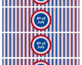 Fourth of July Water Bottle Labels, 4th of July Water Bottle Labels, July 4th Labels, DIY Printable File, INSTANT DOWNLOAD