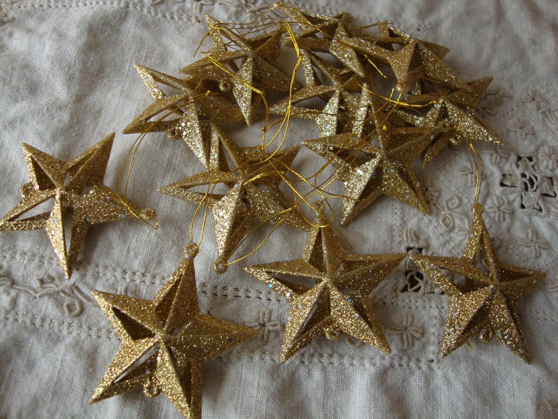Gold glitter star ornaments mini stars christmas
