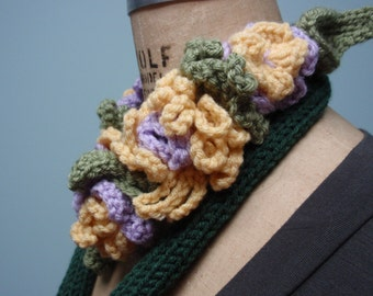 Crochet Floral Design Neckwarmer Scarf with Ladybug Lavender and Pale Yellow