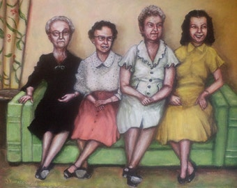 The Ladies on the Davenport, Original Painting, Group Portrait, 1950s, Nostalgia, Retro, Women, Vintage Picture, Sofa, Green, Davenport