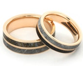 14k Rose Gold His and Hers Wedding Ring Set, Dinosaur Bone. Rose Gold and Gibeon Meteorite, Ring Armour Included