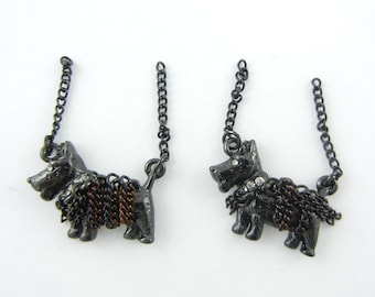 Pair of Black Epoxy Scottie Dog Charms with Chains Rhinestones Jewelry Supplies