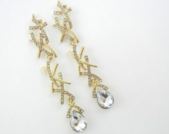 Pair of Gold-tone Chandelier Drop Charms with X Design