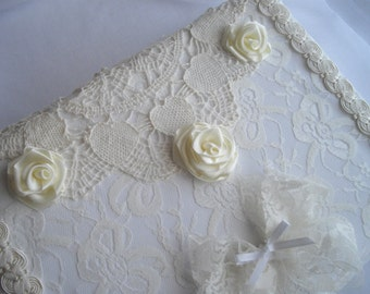 White Lace Wedding Keepsake Box Handmade Satin Ribbon Roses With Acid Free Paper Personalized Vintage Inspired by handcaftusa