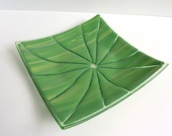Fused Glass Art Plate in Green and Yellow