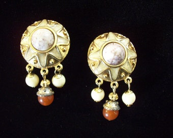 Carnelian Dangle Clip Earrings Vintage 70s Marbled Gold Plated Shimmer Enamel
