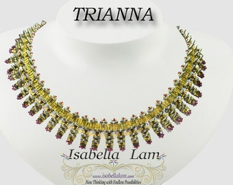 TRIANNA Czech Triangles two hole Beadwork Necklace Pdf tutorial instructions for personal use only