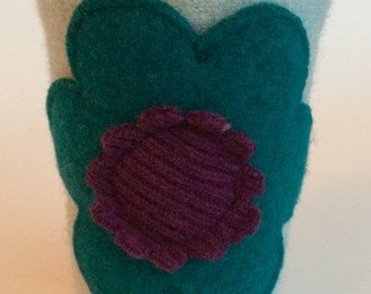 Gift Exchange Idea ! Colorful Coffee Cardi - cute cup cozy made from felted wool sweaters
