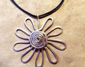 Hammered Metal Wire Flower with Swirl - Silver, Brass, Copper Necklace