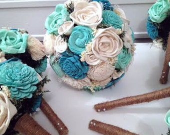 Rustic Aqua and Teal Wedding Bouquet - sola flowers - choose your colors - natural - Alternative bouquet -bridesmaids bouquet- Made to order