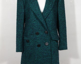 ANDREA ODICINI Italian VINTAGE Green Tweed suit Coat & Skirt set Sz 40 it is