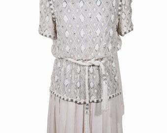 ANDREA ODICINI COUTURE Italian vintage Whitebeaded dress Stole & Belt is
