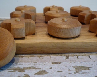 Toy Tic Tac Toe Game - Handcrafted Walnut Base Toy Tic Tac Toe Game or Hugs and Kisses